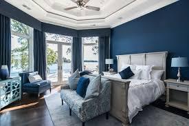 Navy Blue Lake House Bedroom
