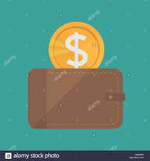Vector Wallet And Gold Coins Icon Flat Design Style