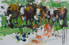 artwork painting modern abstract cow painting by robert joyner