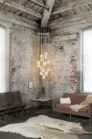 living room with white brick walls