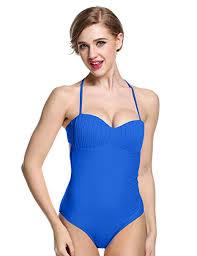 Ekouaer Halter One Piece Swimsuit Bandeau Pin Up Retro Monokini Swimsuits For Women