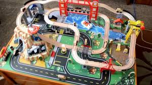 kidkraft metropolis train table set unboxing and play you