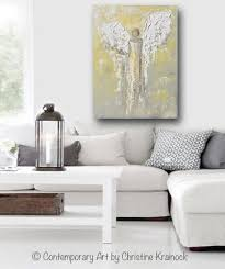 giclee print angel painting gold grey abstract guardian angel inspirational home wall art canvas on home wall art painting with angel painting abstract gold grey guardian angel home wall art