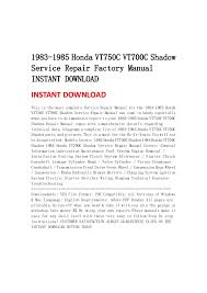 honda vt c vtc shadow service repair factory manual i 1983 1985 honda vt750c vt700c shadowservice repair factory manualinstant instant this is the most