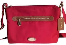 coach red crossbody bag canvas leather cross body nylon
