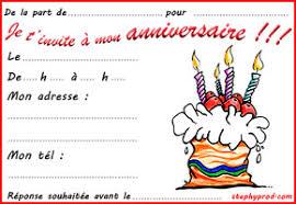Carte D Invitation Anniversaire A Remplir Ginette Brunet