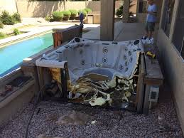 above ground hot tub we cut up and hauled off to the nearest for jacuzzi remodel