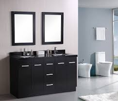 Double Bathroom Sinks Cream Wooden Bath Vanity Using Black Marble Top And Rectangular