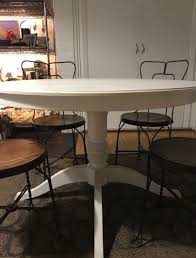 country white round table and 4 vintage sweetheart ice cream parlor chairs for in brooklyn ny offerup
