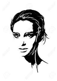 Fashion Girls Face Woman Face Hand Drawn Fashion Model Vector