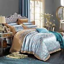 bedding luxury lightblue satin jacquard duvet cover set wedding four piece kit queen king size bed