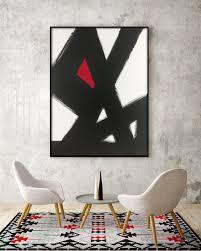 Modern Bedroom Art Abstract Black White Slash No2 Red Modern Living Room Art