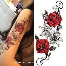 1ks Akvarel Flower Temporary Body Tattoo Tak Krásné Lze Použít Pro Rameno Stehno Nebo Back Body Dekor At Vova