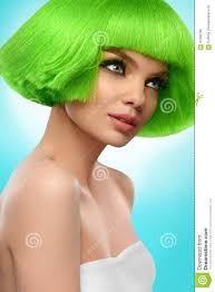 beauty fashion model beautiful woman with short green hair and luxury professional makeup haircut fringe hairstyle high quality image