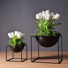sizes black fashion modern tabletop waterproof metal flower