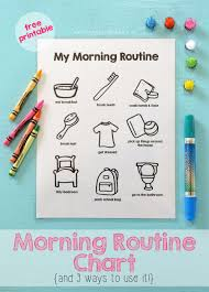 Morning Routine Printable Chart Printable Morning Routine Chart Morning Routine Chart