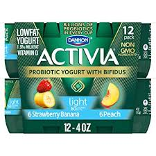 dannon activia lowfat yogurt strawberry banana peach variety pack 4 ounce