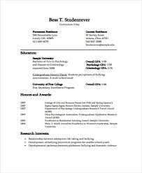 Curriculum Vitae For Students Format Dtk Templates