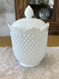 details about fenton white hobnail milk glass cookie jar w lid 3680 circa 1962 1973