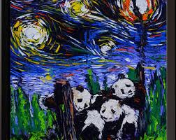 vincent van gogh starry night posters the pandas giant panda canvas wall art print nursery decor on giant panda wall art with giant panda bear art etsy