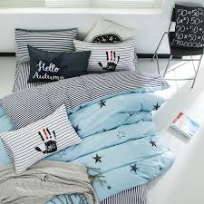 light blue duvet cover set with star pattern 100 cotton stripes bed sheets pillow