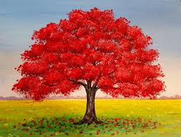 live red oak tree fall landscape acrylic painting tutorial free le best ideas only on
