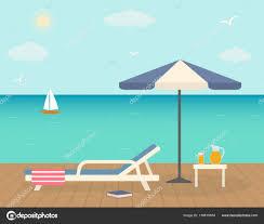 beach chair umbrella wooden pier sunny summer beach relaxing concept stock vector