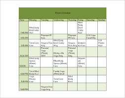 fitness workout schedule template