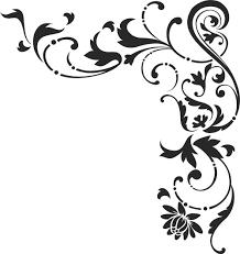 白黒モノクロの花のイラストフリー素材ライン線コーナー用no877