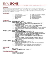 Personal Financial Advisor resume example