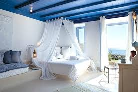Mediterranean Style Bedroom Style Curtains Is A Rarity There Is Jalousie  Instead Textile Is Used In Bedroom Decorations Lacy Sheets Blue Stripe  Pillows ...