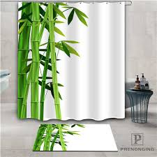 custom bamboo 1 waterproof shower curtain doormat home bath bathroom polyester fabric multi