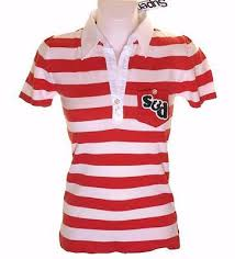 details about new women s superdry knitted striped polo shirt blouse top red white