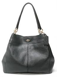 Coach F57545 Lexy Pebble Leather Shoulder Bag (Black)