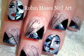 Halloween Nail Art Design Tutorial | Spiderwebs Masks and Skull ...