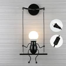 kiven simple fashion doll swing children wall lamp living room bedroom creative bedside wall light with metal plug 1 8 black switch wire color black