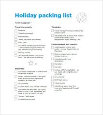 Sample Travel Packing List Packing List Template 10 Free Word Excel Pdf Format Download