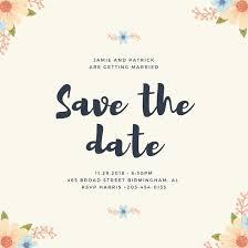 Floral Corners Save The Date Invitation Templates By Canva
