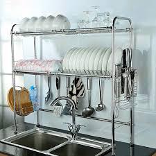 Space Saving Dish Rack Amazoncom Nex 2 Tier Stainless Steel Dish Rack Nonslip Height
