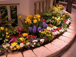 Outdoor, Captivating Colourful Round Modern Stone Flower Bed Ideas  Decorative Mixed Flowers On Side Wall