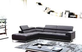 Modern Leather Sectional Sofa Grey Couch With Chaise Furniture