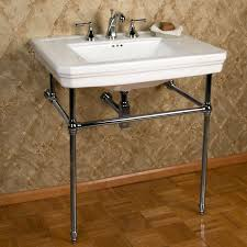 mason console sink with brass stand with 8 centers available in chrome or polished
