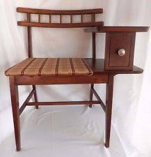 phone table. vintage mid century gossip bench / telephone table chair desk top phone seat e