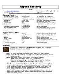 musical theatre resume sample httpresumesdesigncommusical theatre sample musical theatre resume