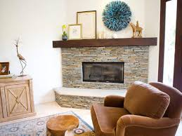 Elegant Neutral Stone Corner Fireplace Ideas With Wooden Mantels Decors  Also Brown Fabric Armchairs On Square