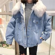 korean winter women faux fur collar fleece hooded jeans jacket women lamb fur cashmere cowgirls padded coat women s denim jacket