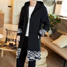 ซ อท ไหน chinese mens trench coat spring new long casual overcoat spray print hooded male big size trench coat windproof homme
