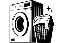 washing machine clipart black and white. laundry washing machine wash clean clothes maid service housekeeper housekeeping .svg .eps .png digital clipart vector cricut cutting file black and white n