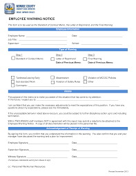 Employee Warning Letters Template Free Standard Employee Warning Notice Templates At