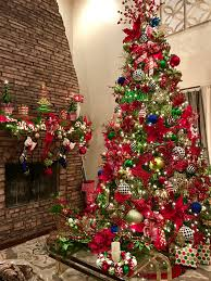 My red, green, gold, black and white 12ft / 14ft Christmas Tree 2016